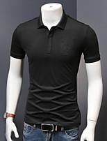 Для мужчин На каждый день Polo Рубашечный воротник,Простое Однотонный С короткими рукавами,Хлопок