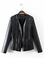 Для женщин Спорт На выход На каждый день Осень Зима Кожаные куртки V-образный вырез,Уличный стиль Однотонный Обычная Длинный рукав,Другое,