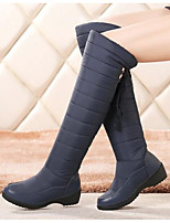 Women's Boots Comfort Fashion Boots Spring Winter Real Leather PU Casual Black Blue Flat
