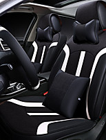 Car Seat Cushion Linen Leather Seat Cover Four General Seat Surrounded By Five Seat 2 Headrest 2 Waist By Giving The Wheel Sets Black