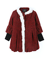 Girls' Check Jacket & Coat,Cotton Acrylic Rex Rabbit Fur Fall Winter Long Sleeve