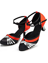 Women's Latin Lycra Heels Indoor/Professional Criss-Cross Color Block Cuban Heel Black 2 - 2 3/4 Customizable