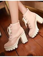 Для женщин Обувь Полиуретан Осень Удобная обувь Ботинки С Назначение Повседневные Черный Розовый Миндальный