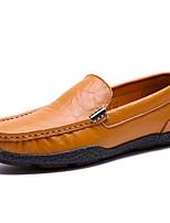 Для мужчин Мокасины и Свитер Удобная обувь Весна Осень Полиуретан Повседневные На плоской подошве Черный Оранжевый Синий На плоской