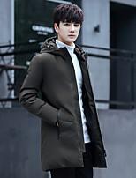 Пальто Уличный стиль Обычная Пуховик Для мужчин,Однотонный Большие размеры Другое Пух белой утки,Длинный рукав
