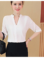 Women's Casual/Daily Simple Spring Summer Blouse,Solid V Neck Short Sleeve Others