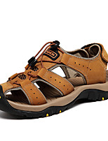 Men's Sandals Comfort Nappa Leather Spring Summer Outdoor Dress Water Shoes Light Brown 1in-1 3/4in
