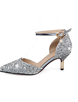 Women's Heels Comfort Novelty Summer Fall Leatherette Casual Dress Office & Career Low Heel Gold Silver 2in-2 3/4in