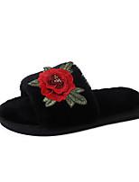 Women's Slippers & Flip-Flops Comfort PU Fall Winter Casual Dress Flat Heel Ruby Black Under 1in