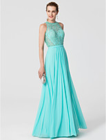 Sheath / Column Jewel Neck Floor Length Lace Jersey Formal Evening Dress with Beading Sash / Ribbon by TS Couture®