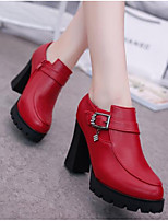 Women's Heels Comfort Basic Pump Spring Summer Real Leather Casual Black Ruby 3in-3 3/4in