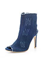 Для женщин Ботинки Удобная обувь В ковбойском стиле Деним Весна Осень Повседневные Для праздника Для вечеринки / ужина Молнии На шпильке