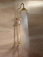 Современный Роскошь Гламур Высокое качество На стену Дождевая лейка Настенное крепление with  Керамический клапан Две ручки двумя