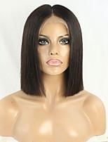 жен. Натуральные волосы Реми Лента спереди Бесклеевая кружевная лента 130% плотность Прямые Парик Черный Короткий Средний Природные