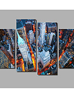 City Light Street Traffic Scenery Painting Printed on Canvas For Modern Home Decoration Livingroom Background Murals 4 Panels Framed