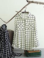 Chemisier Femme,Damier Sortie Décontracté / Quotidien Sexy simple Chic de Rue Eté Manches Longues Col de Chemise Coton Polyester Fin Moyen