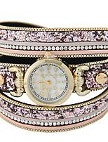 Жен. Модные часы Часы-браслет Кварцевый Кожа Группа Блестящие Черный Коричневый Розовый
