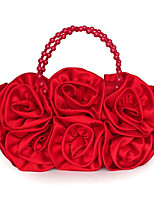 Women Bags All Seasons Satin Clutch with Appliques Satin Flower Satin Bow Floral Pleated Petals Mini Spot Metallic Ruched Tassel Flower