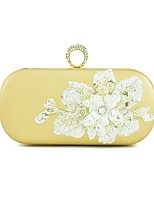 Women Bags All Seasons PU Evening Bag with Sequin Crystal/ Rhinestone Flower for Event/Party Formal Gold Black Sliver