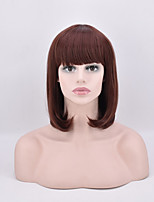 Short Straight Bobo Brown Color Synthetic Wig High Temperature Fiber 12inch For Women Wig