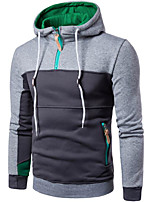 Men's Casual/Daily Hoodie Color Block Letter Hooded Micro-elastic Cotton Long Sleeve Spring Fall