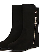 Women's Boots Comfort Fall Winter PU Casual Black Red Under 1in