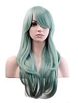 Femme Perruque Synthétique Sans bonnet Long Ondulation Naturelle Vert de menthe Perruque Naturelle Perruque Déguisement