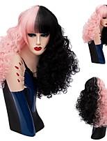 Donna Medio Nero - rosa Capelli Capelli sintetici Senza tappo Parrucca naturale