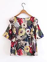 Для женщин На выход На каждый день Лето Осень Блуза Круглый вырез,Простое Уличный стиль Цветочный принт С короткими рукавами,Другое,