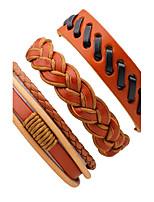 Men's Leather Bracelet Rock Multi-ways Wear Leather Irregular Twist Circle Jewelry For Stage Club