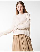 Для женщин На каждый день Простое Обычный Пуловер Однотонный Контрастных цветов,Круглый вырез Длинный рукав Шерсть Акрил Полиэстер Осень