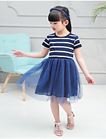 Girl's Striped Dress,Cotton Acrylic Spandex Summer Fall Short Sleeve