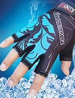 Men's Cotton Nylon Wrist Length Half Finger Soak Off Outdoor Sports Print Spring/Fall Summer Cycling Bike Gloves Red/Blue