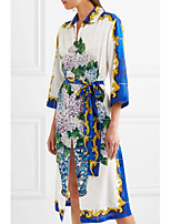 STEPHANIE Women's Going out Casual/Daily Chinoiserie Loose Sheath DressGeometric Jacquard Embroidered Shirt Collar Midi Knee-length Half Sleeve