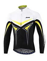 Arsuxeo Cycling Jersey Men's Long Sleeves Bike Jersey Reflective Strip Fast Dry Breathability Softness 100% Polyester Patchwork Spring