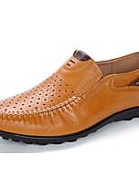 Masculino Mocassins e Slip-Ons Sapatos de mergulho Verão Pele Casual Rasteiro Castanho Claro Castanho Escuro 5 a 7 cm