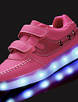 Girls' Athletic Shoes Comfort Spring Fall PU Walking Shoes Athletic Hook & Loop LED Flat Heel White Black Blue Blushing Pink Under 1in