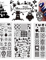 Halloween Stamping Plates Nail Art Templates New Stainless Steel Ghosts Skulls Pumpkin Crow Stencils Polish Tools