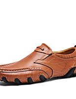 Для мужчин Мокасины и Свитер Удобная обувь Осень Зима Кожа Повседневные Для вечеринки / ужина На плоской подошве Черный Темно-коричневый