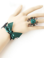 Belly Dance Jewelry Women's Performance Polyester Bowknot Applique 2 Pieces Rings Bracelets