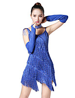 Latin Dance Dresses Women's Performance Milk Fiber Sequin Tassel(s) 4 Pieces Sleeveless Natural Dresses Sleeve Neckwear