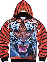 Men's Casual/Daily Hoodie Leopard V Neck Inelastic Polyester Long Sleeve Winter
