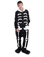 kigurumi Pyjamas Squelette Collant/Combinaison Chaussures Fête / Célébration Pyjamas Animale Halloween Mode Brodée FlanelleCostumes de
