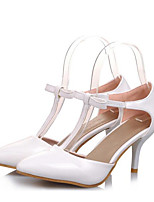 Women's Heels Comfort Basic Pump Real Leather PU Summer Casual White Black Purple Blushing Pink 4in-4 3/4in