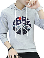 Men's Plus Size Sports Plus Size Going out Casual/Daily Simple Vintage Active Street chic Hoodie Solid Print Letter Hooded Micro-elastic