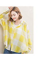 Women's Wedding Simple Cute Summer Shirt,Plaid Shirt Collar Long Sleeve Cotton Linen Thin