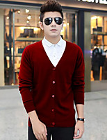 Standard Cardigan Da uomo-Casual A strisce A V Manica lunga Lana Autunno Inverno Medio spessore Media elasticità