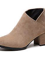 Для женщин Ботинки Для прогулок Армейские ботинки Замша Зима Повседневные Молнии На толстом каблуке Черный Хаки Вино 7 - 9,5 см