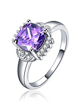 Women's Ring Amethyst AAA Cubic Zirconia Fashion Elegant Silver Square Ring Jewelry ForWedding Anniversary Party/Evening
