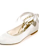 Feminino Sapatos De Casamento Bailarina Primavera Verão Cetim Casamento Social Festas & Noite Pérolas Cadarço de Borracha Rasteiro Fúcsia